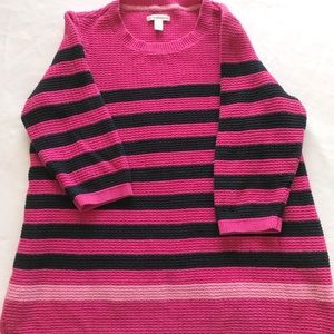 Croft and Barrow Pink Striped Sweater